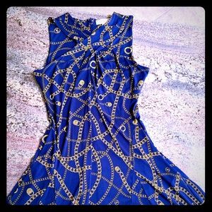 NWT. Michael Kors sleeveless navy and gold dress.